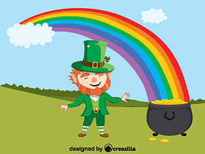 Leprechaun and pot of gold (Saint Patrick's) vector