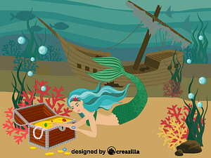 Mermaid, wrecked ship, underwater treasure vector