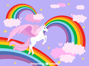 Winged Unicorn and rainbow vector
