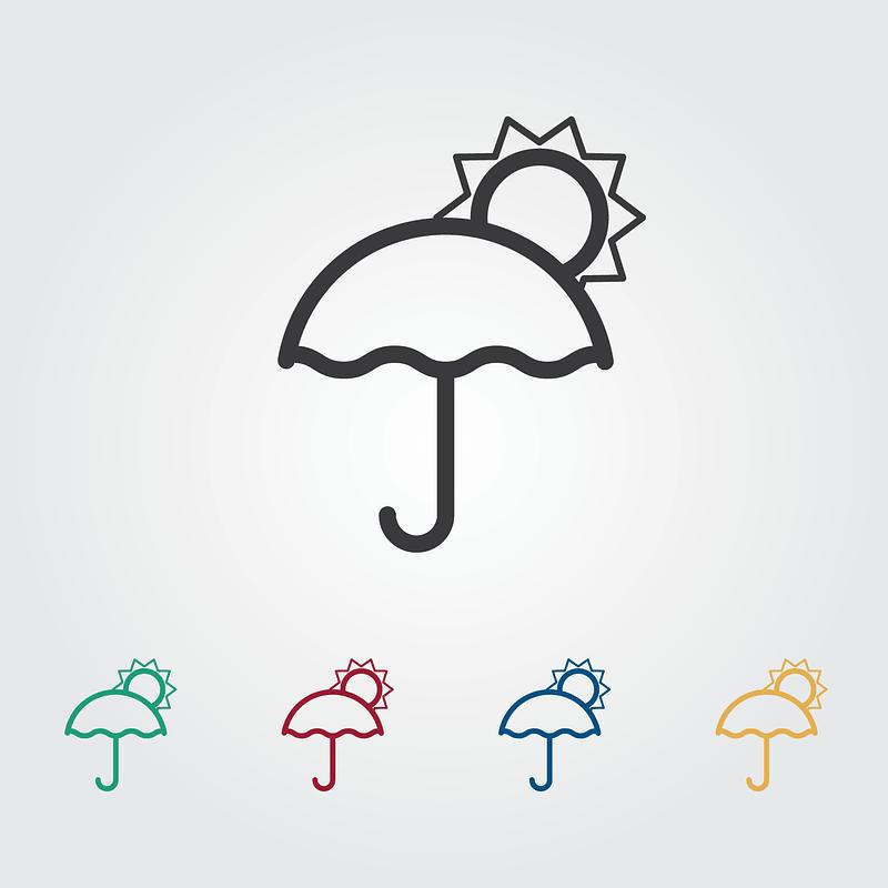 Umbrella and Sun Icons vector