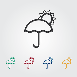 Umbrella and Sun Icons vector