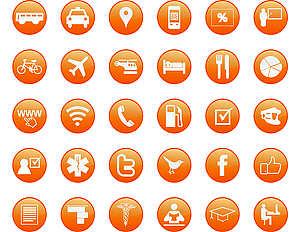 Set 2 von Orange Icons vektor