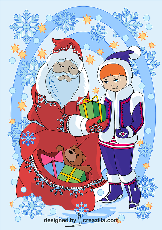 Santa Claus is Giving a Present to a Girl Card vector