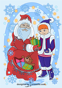 Santa Claus is Giving a Present to a Girl Card vector