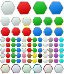 Set of Hexagon Buttons Icons vector