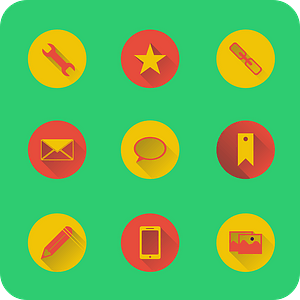 Settings, Favorite, URL, Email, Messages, Bookmark, Edit, Mobile, Picture Gallery Icons vector