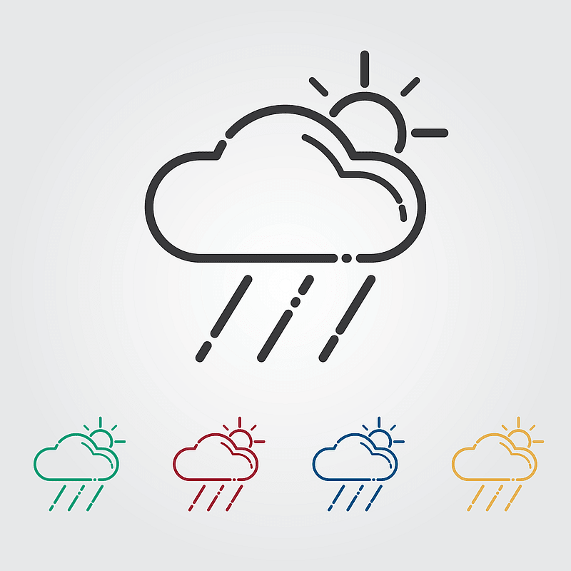 Raining Cloud with a Sun Icon vector