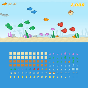 Fish game pack vector