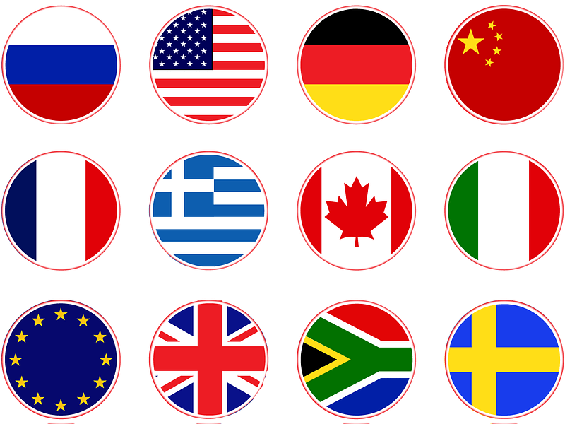 Russia, USA, Germany, China, France, Canada, Italy, European Union, UK, Greece, Sweden Flags Icons vector