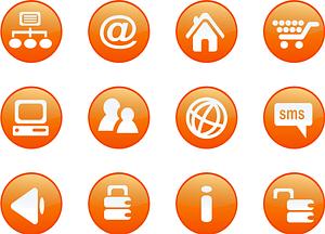 Immagine vettoriale di Set 1 di icone arancioni
