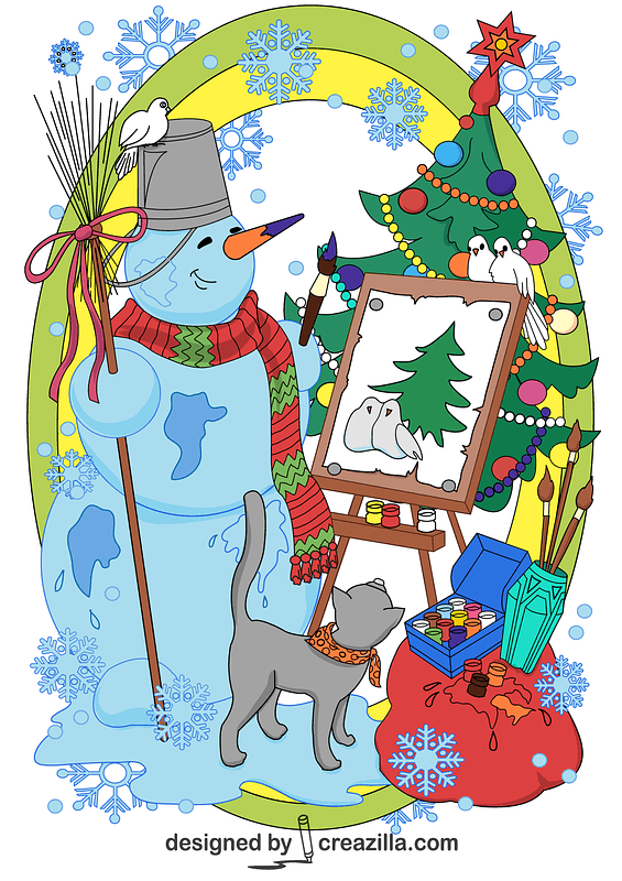 Snowman Painting a Christmas Tree Background Card vector
