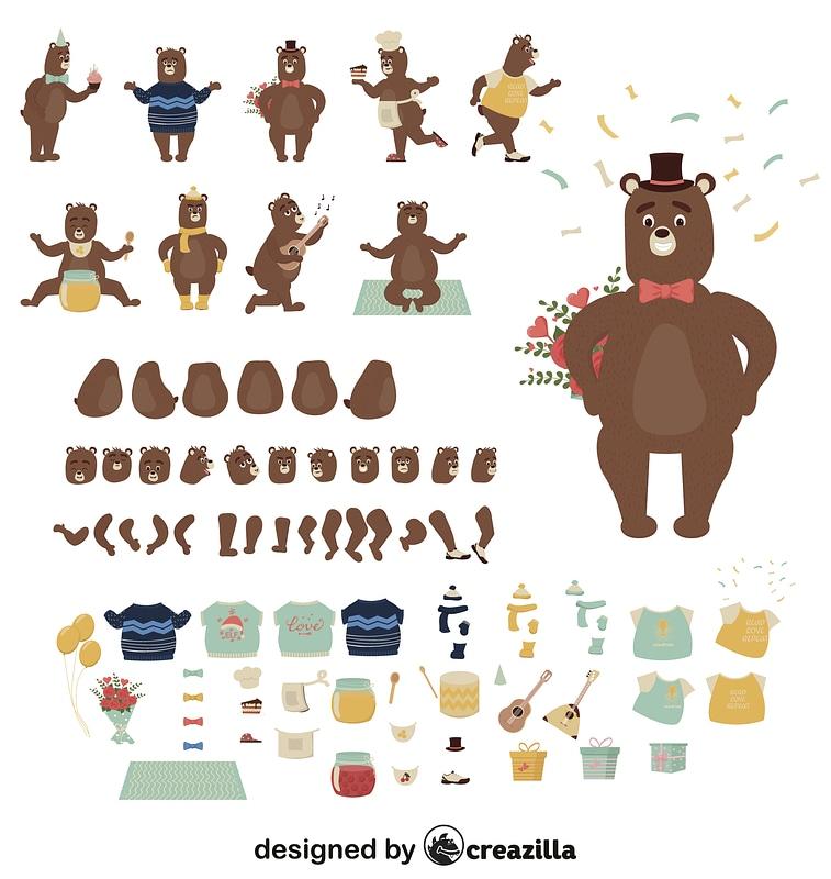 Bear character constructor vector