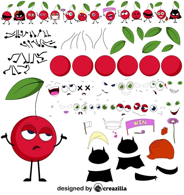 Cherry character constructor vector