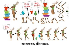 Deer character constructor vector