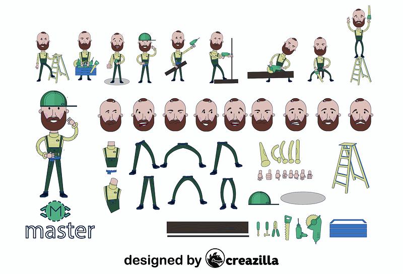 Handyman character constructor vector