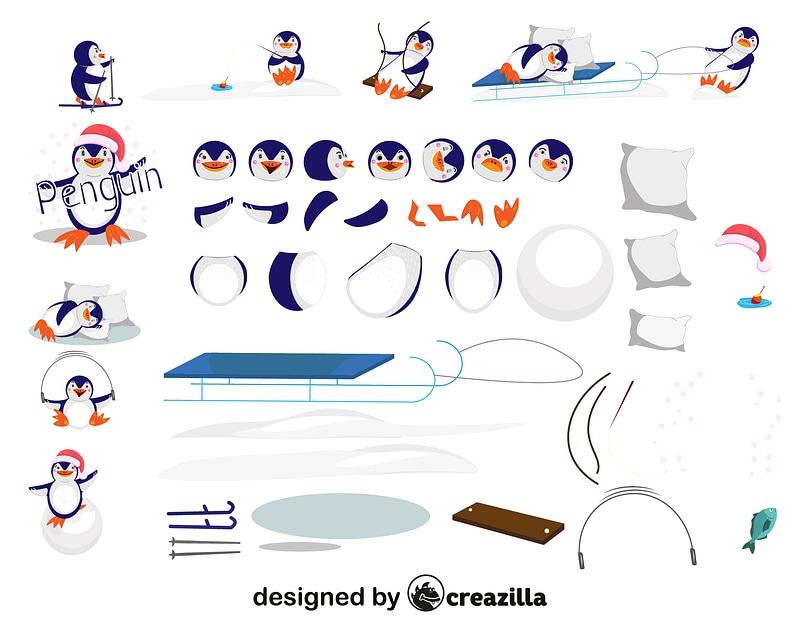 Penguin character constructor vector