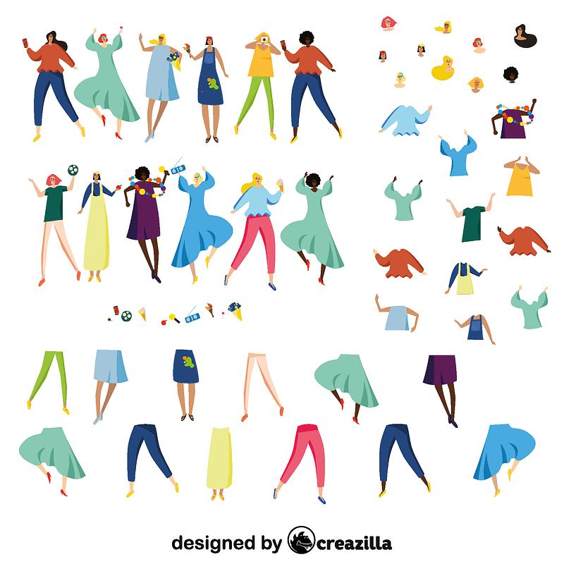Women characters constructor vector