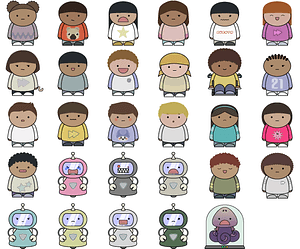 Boys and girls characters vector