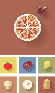 Pizza Background with Icons vector