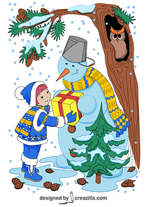 A Girl and a Snowman with Present in Winter Card vector