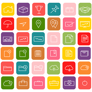 Minimalist Colorful Icons vector