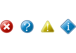 Information, Question, Exclamation, Close Icons vector