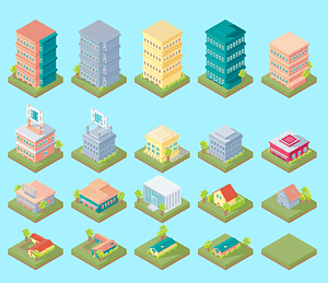 Isometric buildings and houses vector