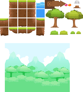 Level tileset with trees vector