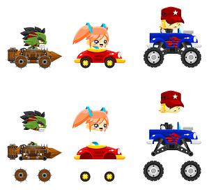 Racing car characters vector