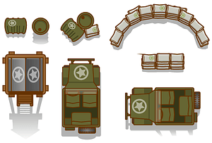 Top down game military assets vector