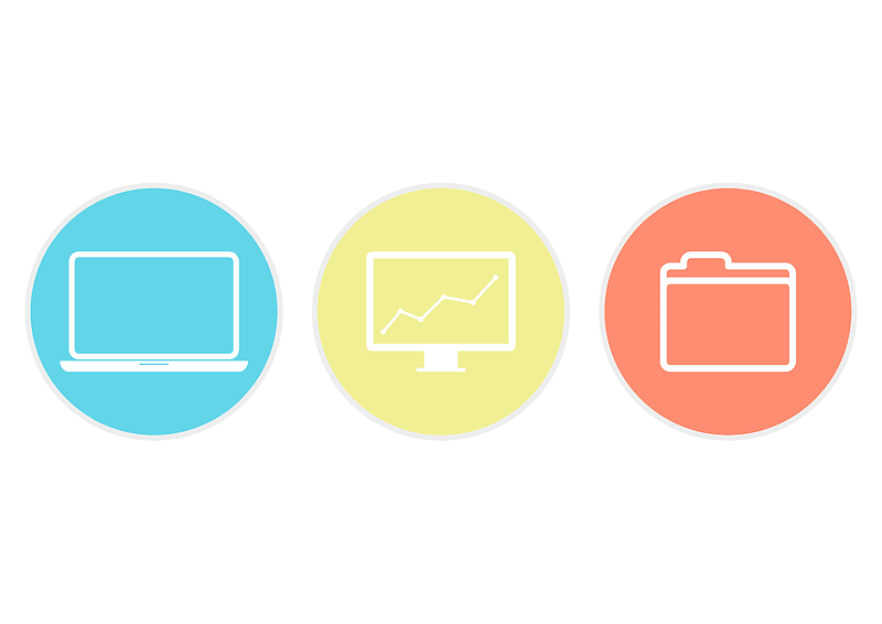 Laptop Monitor Folder Icons vector