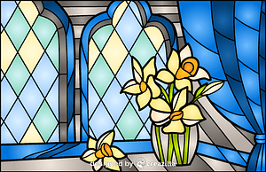 Daffodil Stained Glass Style Illustration vector
