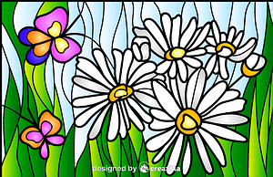 Daisy Stained Glass Style Illustration vector