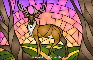 Deer Stained Glass Style Illustration vector