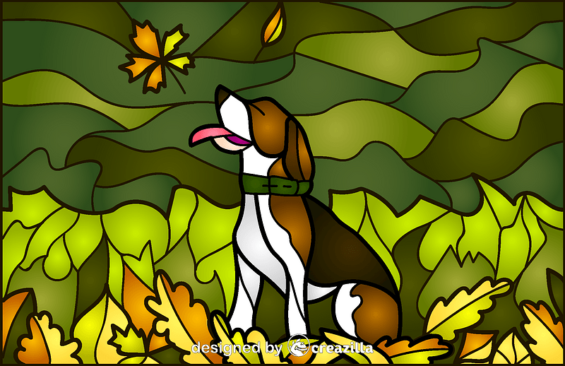 Dog Stained Glass Style Illustration vector