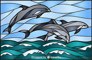 Dolphins Stained Glass Style Illustration vector