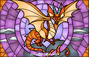 Dragon Stained Glass Style Illustration vector