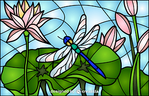 Dragonfly Stained Glass Style Illustration vector