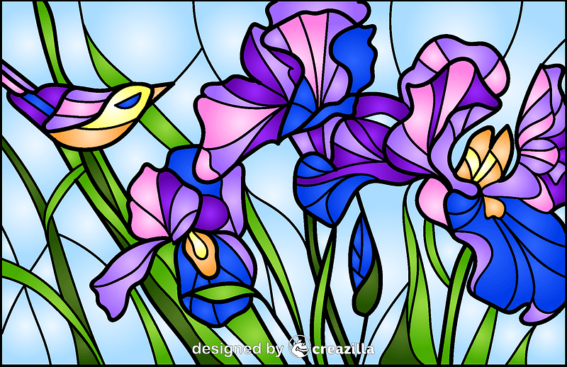 Irises Stained Glass Style Illustration vector