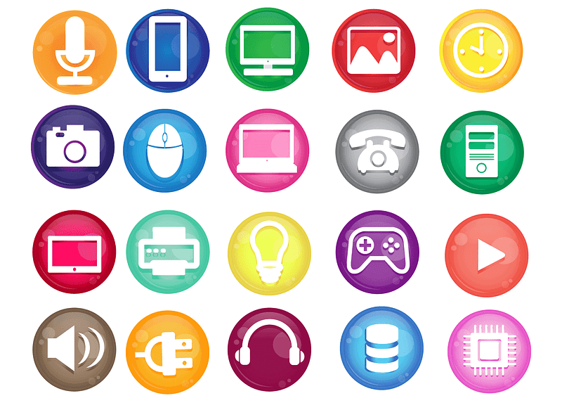 Microphone, Mobile, My Computer, Picture, Clock, Photo, Mouse, Play, Printer, Sound, Music Icons vector