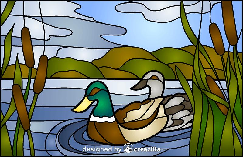 Mullard Ducks Stained Glass Style Illustration vector