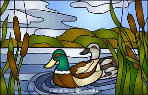 Vector de Mullard Ducks Stained Glass Style Illustration