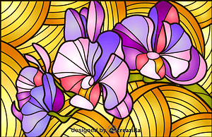 Orchid Stained Glass Style Illustration vector