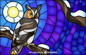 Owl Stained Glass Style Illustration vektor