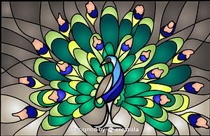 Vector de Peacock Stained Glass Style Illustration