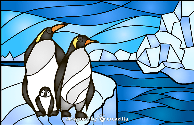Penguin Stained Glass Style Illustration vector
