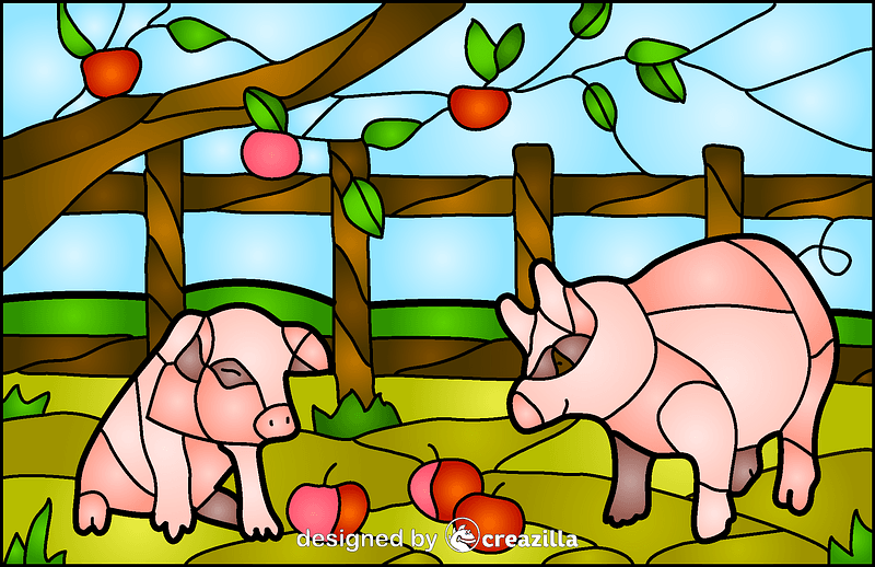 Pigs Stained Glass Style Illustration vector