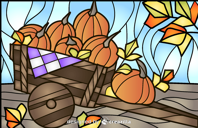 Pumpkins Stained Glass Style Illustration vector