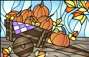 Pumpkins Stained Glass Style Illustration vektor