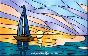 Vector de Sunrise Stained Glass Style Illustration